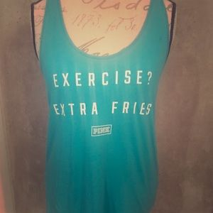 Exercise Extra Fries Victoria Secret Pink Tank Top
